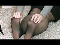Granny in Stockings Plays with her Toy