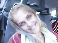 Amateur girl Sasha having fun in car