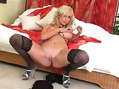 Blonde with bigtits fingering in thigh high nylon