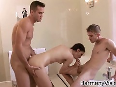 HarmonyVision Petite girl takes on two monster cocks