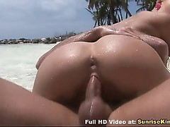 Amazing beach sex with glamour babe