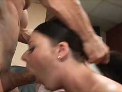 Two dick hungry whore Anita Blue & Sophie Dee share a piece of man beef