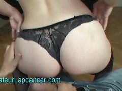 Sexy redhead shakes her big booty and lapdances