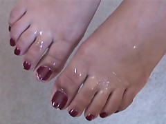 Veronique Vega takes a cumload on her sexy feet