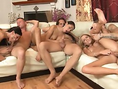 Aiden Aspen & Sea J Raw bring cocks to orgasm and share cum with a slut friend