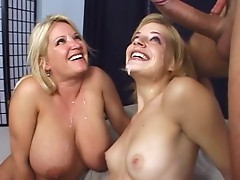 Two horny bitches Ally Ann and Rachel Love share a big meat pole