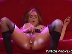 Big tit redhead pleasuring herself