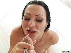 Sandra Romain gets her face plastered with warm cum