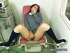 Girl masturbating during gynecological exam