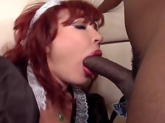 Plumped lipped redhead maid gets a black cock shafting