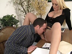 Sexy boss Alana Evans is licked and dicked on the desk