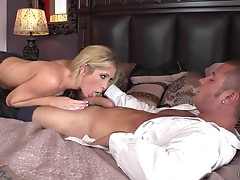 Sexy Tasha Reign wraps her lips around this hard prick