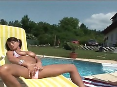 Kate Jones takes dick while she is outside enjoying a dip in the pool