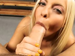 Britney Amber takes on all cocks and soothes them with her tongue