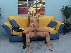 Brandy Blair bounces her hot pussy on this hard dick