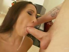 Human anaconda sprays a load of cum all over Amia Moretti's sexy face