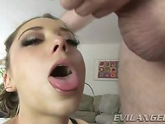 Remy La Croix gets her face doused with warm dick juice