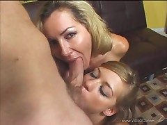 Lisa Lee and Nicole Ray slobber over this stiff dick