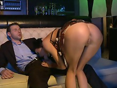 Black Angelica gets pounded in a dance club by a monster cock
