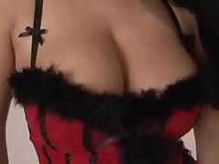 Carmen Croft fucks cock in her stunning basque