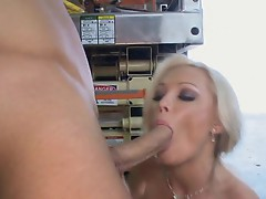 Sue Diamond first licks horny shaft then get pondered by it later