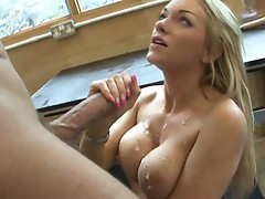 Paige Ashley is thrilled to have her chest dumped on with cum