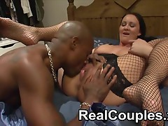 Black dude spanks then licks a white girls pussy