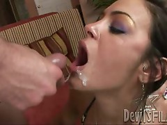 Angelina Valentine gets her mouth filled with cum