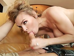 Tanya Tate throat fucks this hard throbbing cock