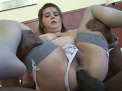 Chubby babe gets drilled by a big black dick