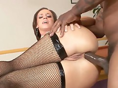 Anal loving whore Jada Stevens takes a long black pole in her ass