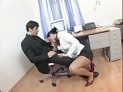 Receptionist Simon Peach gets a rough anal reaming from a hard dong
