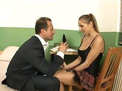 Naughty schoolgirl is taught to please prick