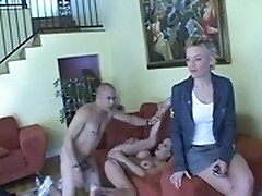 MILF taking part in FFM fucking