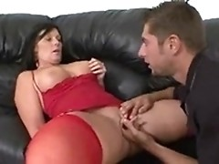 Busty babe in stockings enjoys hard fuck