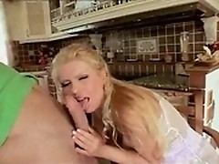 Blonde milf with natural big tits sucks dick then gets pussy fucked sideways