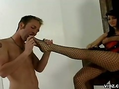 Luscious slut plays with hot stud in colorful undies