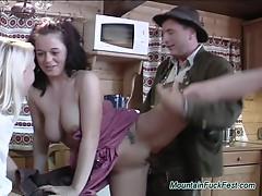 Mountain fuck fest threesome
