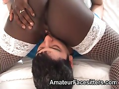 Mature black lady dominates and facesits a horny guy