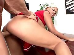 Cheerleader Bridgette B is fucked in her uniform