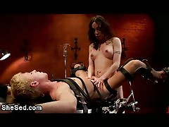 Shemale and blond guy fucks bdsm