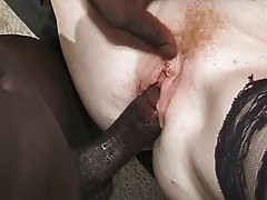 Grandma gangbang slut pleasing several dicks