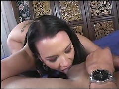 Slut blows a neatly shaved dick