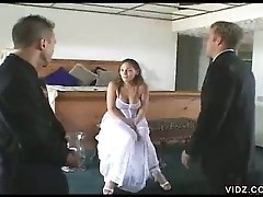 Newly wed threesome fucking galore