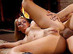 Beautiful blonde opens all her holes