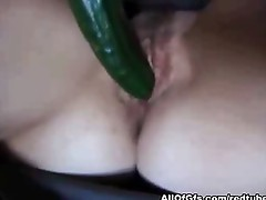 Huge cucumber for tight hairy pussy