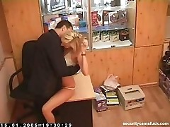 Hot Blonde fucks repair man in his office