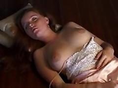 Busty babe masturbating her pussy