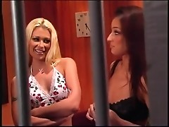 Three babes seduce their jailer smoking his dong