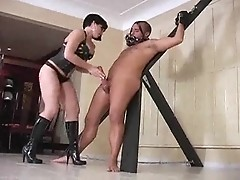 Hot brunet dominatrix crucifies man with fat cock